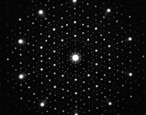 Electron diffraction pattern from an icosahedral quasicrystal.