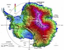 Mappa dello spessore dei ghiacci in Antartide
