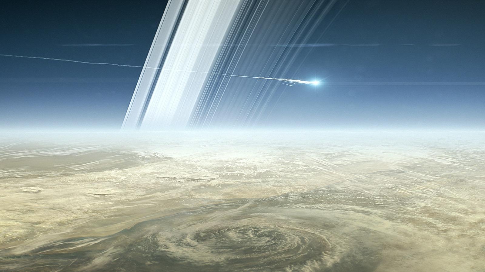 In questo fotogramma del film di animazione Cassini's Grand Finale la distruzione della sonda dopo l'ingresso nell'atmosfera di Saturno. La fine della missione è prevista per il 15 settembre 2017. Credit: NASA/JPL-Caltech.