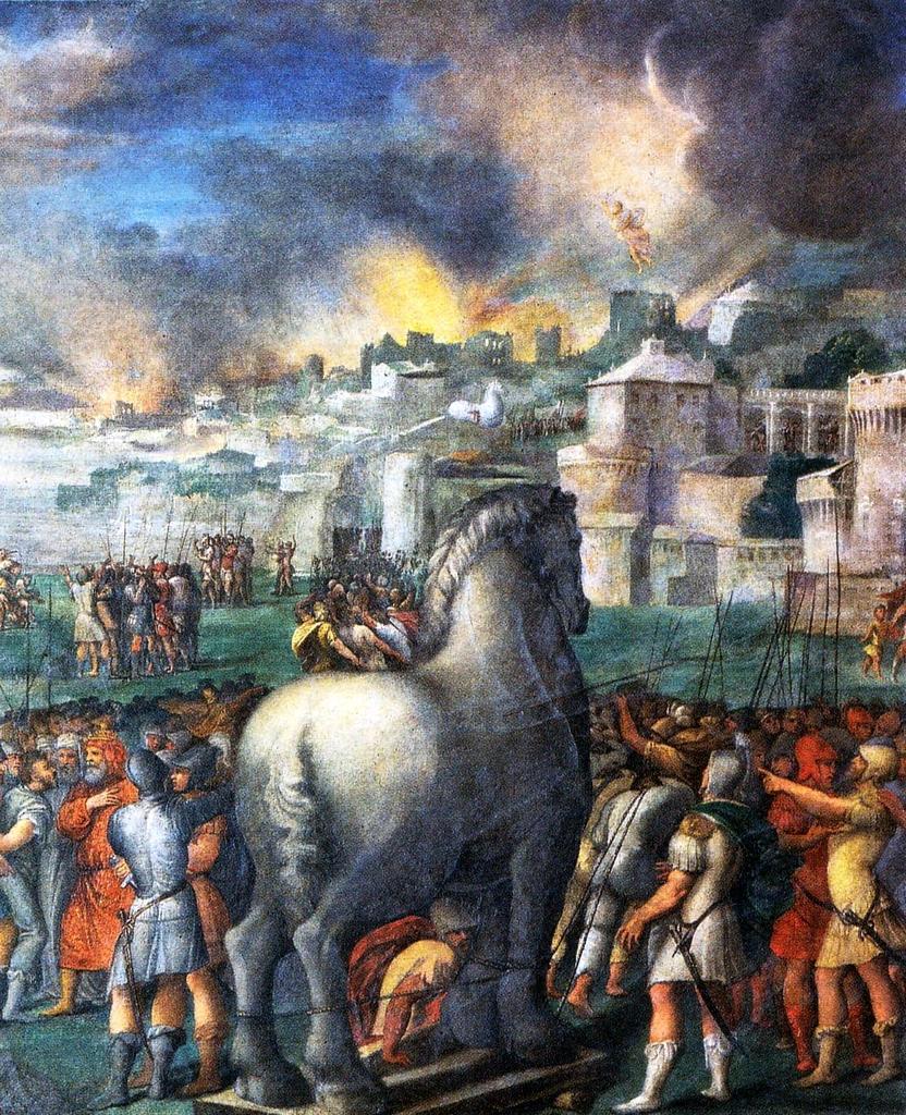 Cavallo di Troia, affresco riportato su tela di Niccolò dell'Abate, 1540-1543. Conservato alla Galleria Estense di Modena.