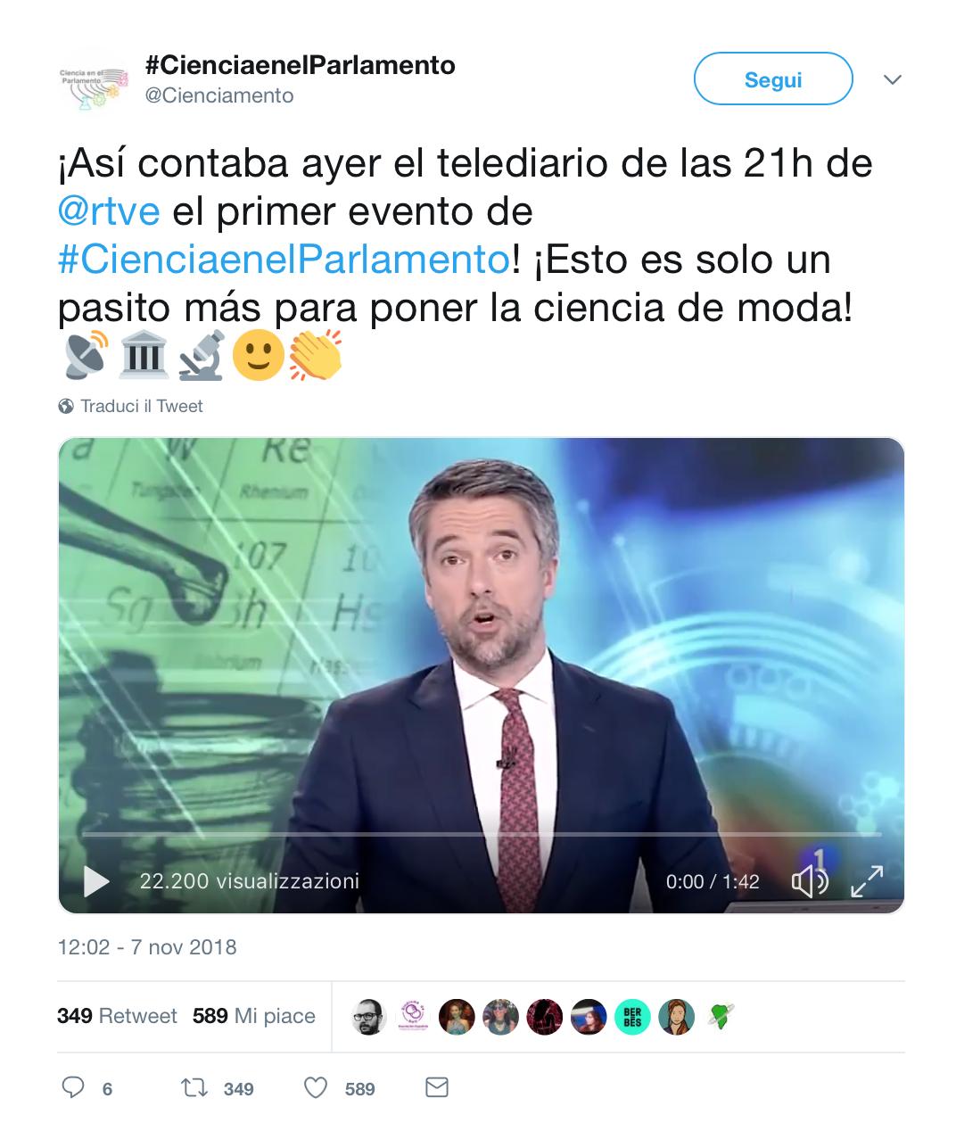 Post Twitter iniziativa Ciencia e nel Parlamento