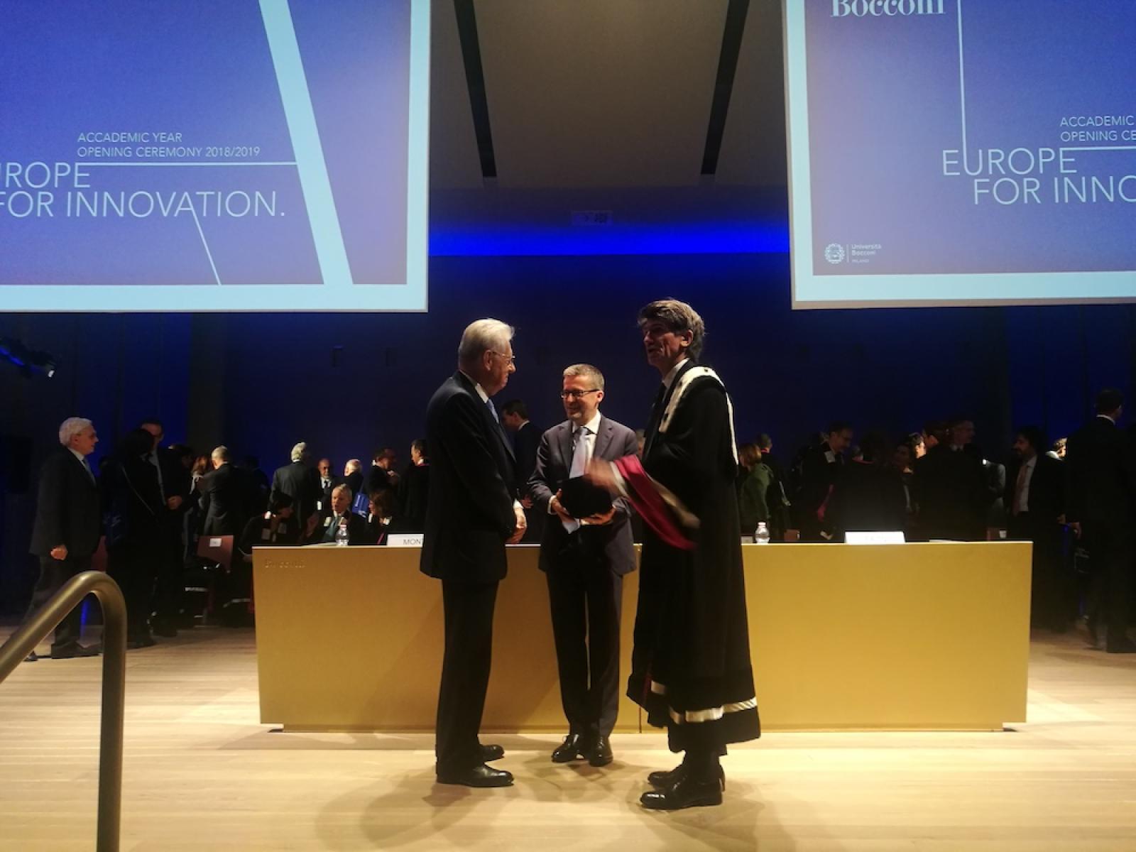 Mario Monti, Carlos Moedas e Gianmario Verona