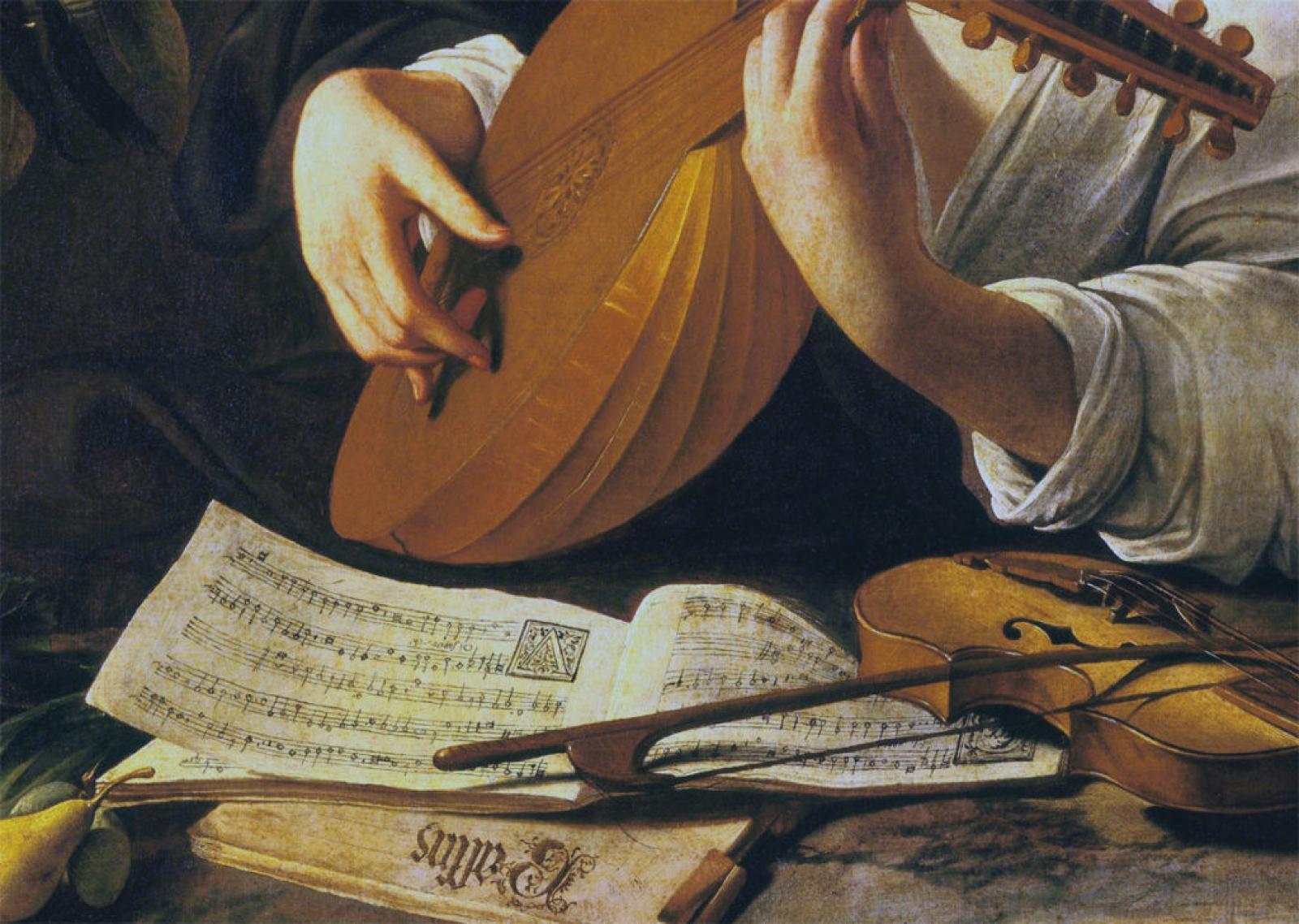 Suonatore di liuto Caravaggio, dettaglio partiture