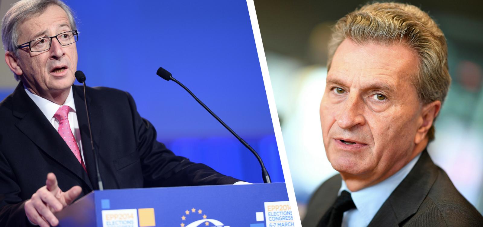 Jean-Claude Juncker, Presidente della Commissione Europea, e Günther Oettinger, Commissario europeo per la programmazione finanziaria ed il bilancio. Credit: EPP Group in the CoR / Flickr, European People's Party / Flickr. Licenza: CC BY 2.0.