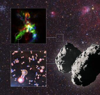 Questa infografica mostra i risultati chiave di uno studio che ha rivelato la traccia interstellare del fosforo, uno dei mattoni costitutivi della vita. Crediti: Alma (Eso/Naoj/Nrao), Rivilla et al.; Eso/L. Calçada; Esa/Rosetta/NavCam; Mario Weigand,