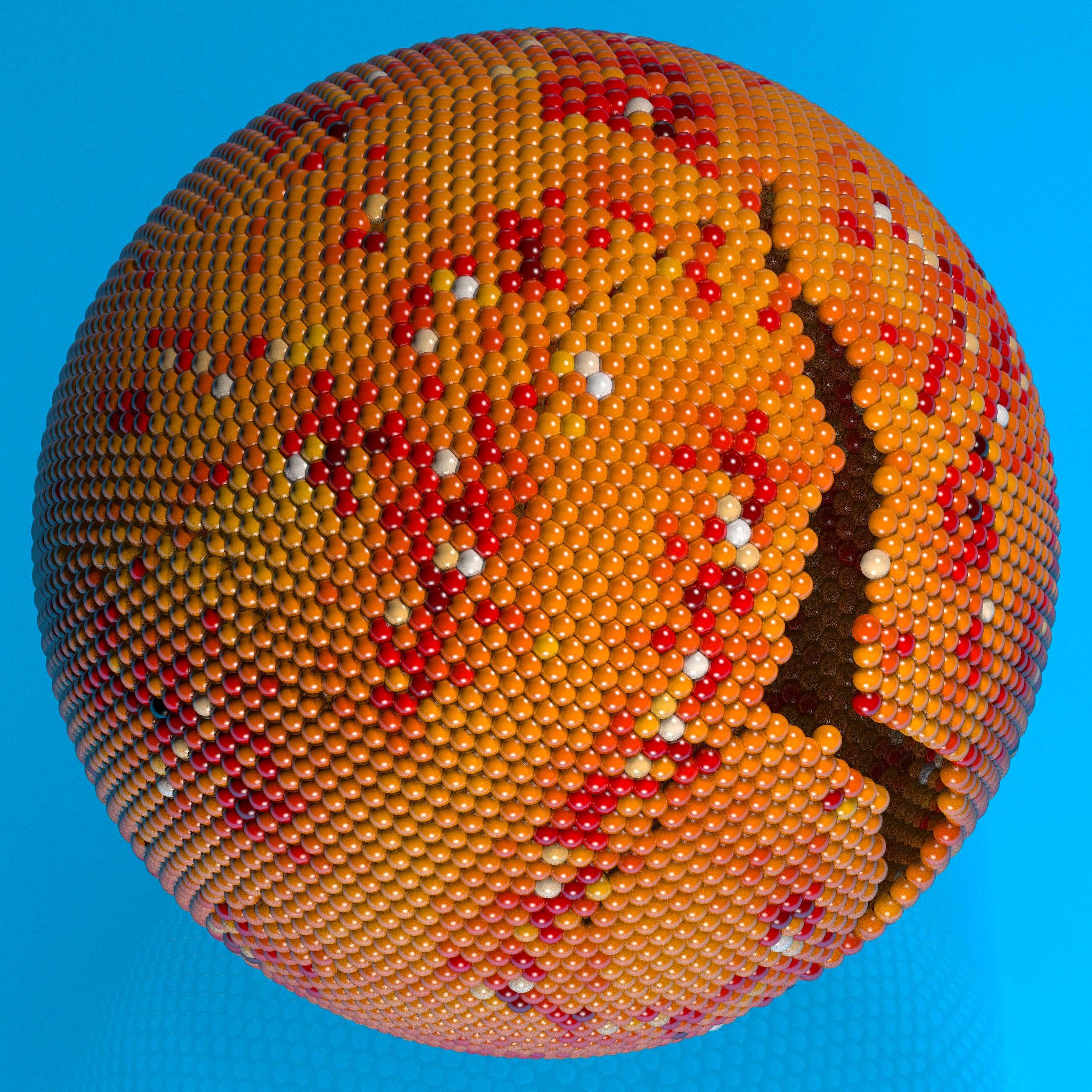 Simulazioni di un cristallo colloidale su di una superficie sferica. Cambiando la forma e il volume della superficie il cristallo si deforma e si frattura. Dall'articolo <i>Deformation and failure of curved colloidal crystal shells</i> pubblicato su PNAS vol. 112 no. 47, pp. 14545–14550.