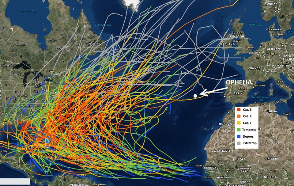 Tracciato degli uragani che hanno colpito l'Oceano Atlantico dal 1842 al 2016. Credit: National Hurricane Center.