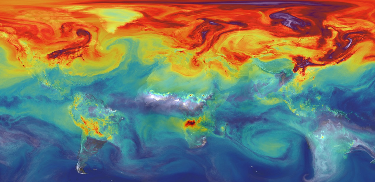 NASA is advancing new tools like the               supercomputer model that created this simulation of               carbon dioxide in the atmosphere to better understand               what will happen to Earth's climate if the land and               ocean can no longer absorb nearly half of all               climate-warming CO2 emissions. Credit: NASA 	       / GSFC. Licenza: Public Domain.