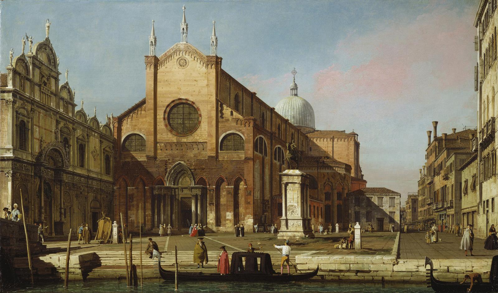 Antonio Canal, detto il Canaletto, Campo santi Giovanni e Paolo, 1738 ca, olio su tela, 46,4x78,1 cm, Londra, Royal Collection.