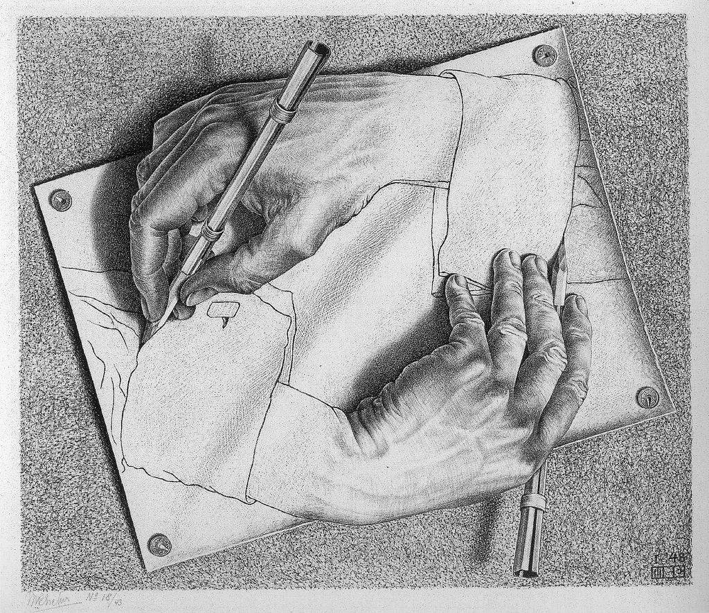Una foto di Drawing Hands, litografia               dell'artista olandese M. C. Escher, stampata per la               prima volta nel 1948. Credit: James Wang /               Flickr. Licenza: CC BY-NC-ND 2.0.