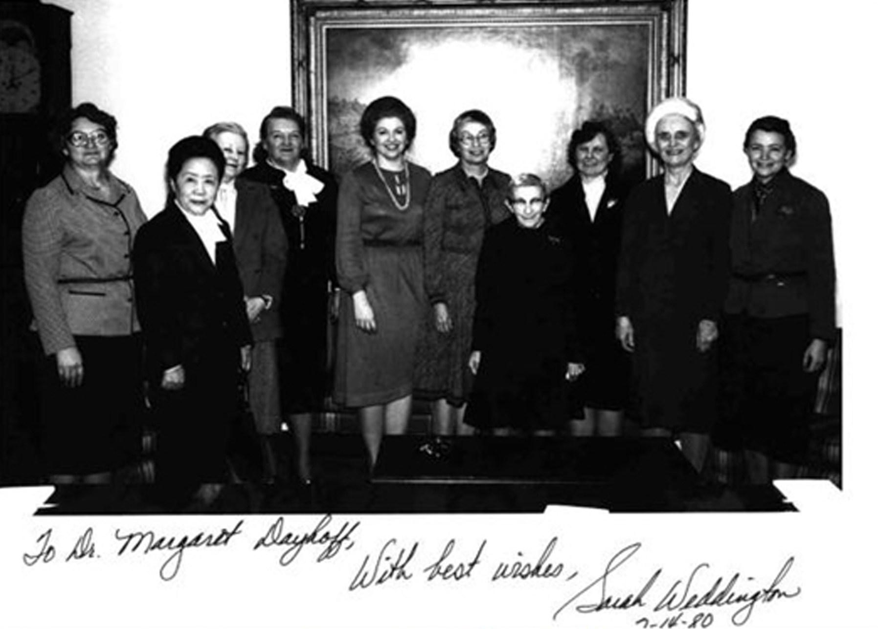 Nove scienziate vengono ricevute alla Casa Bianca il 14 Febbraio 1980. Credit: Stemwomen.net.