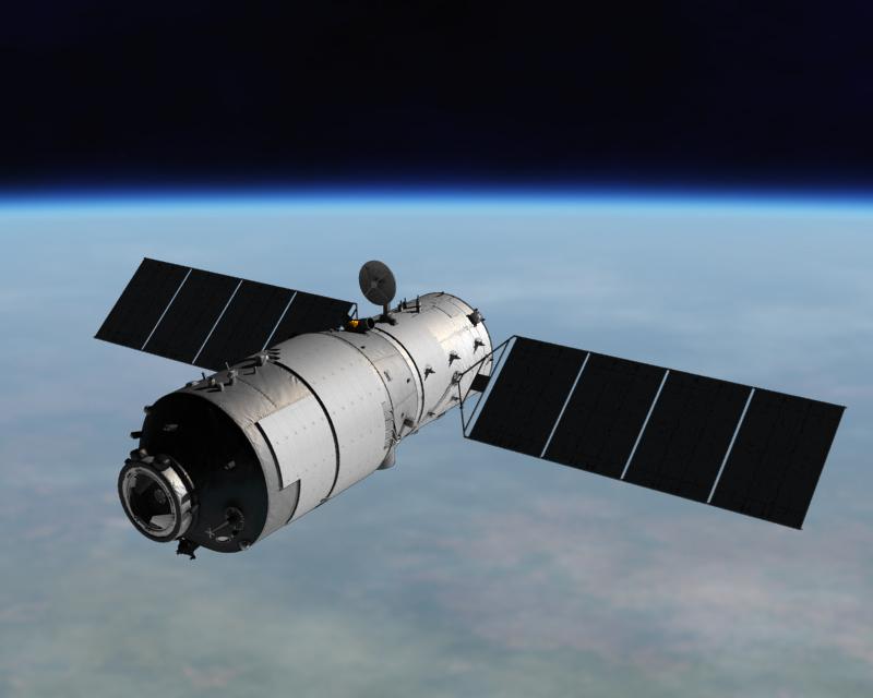 Rappresentazione artistica della               stazione spaziale cinese Tiangong-1. Credit: China               Manned Space Agency.