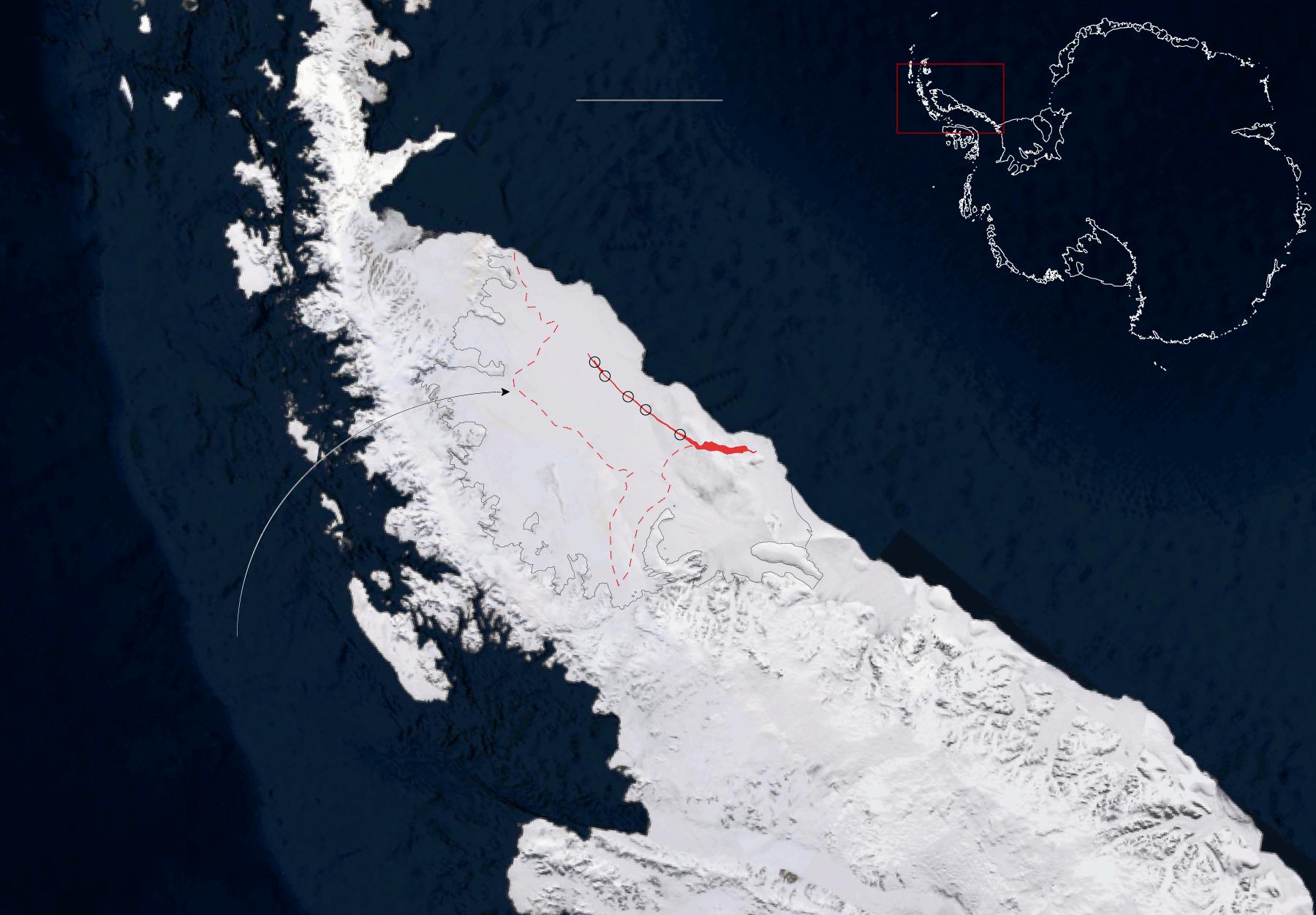 Immagine della frattura sulla piattaforma antartica Larsen C, 2016. Credit: Microsoft Corporation Earthstar Geographics per il New York Times.