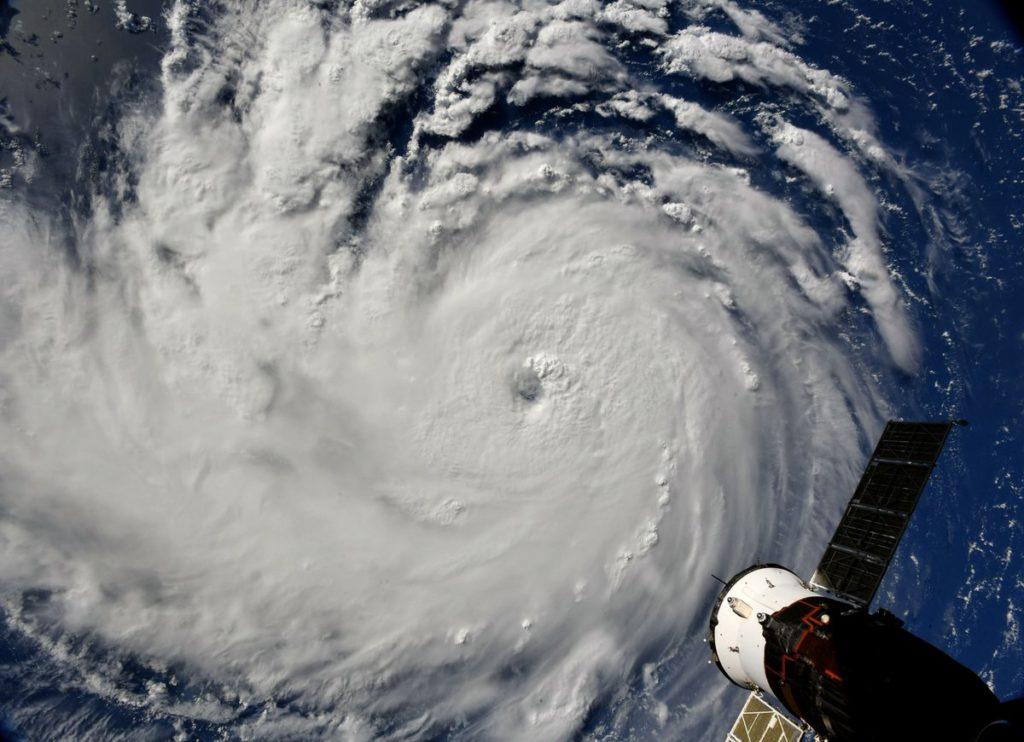 L'uragano Florence fotografato dalla Stazione Spaziale Internazionale il 10 settembre 2018. Credit: NASA. Licenza: Public Domain.