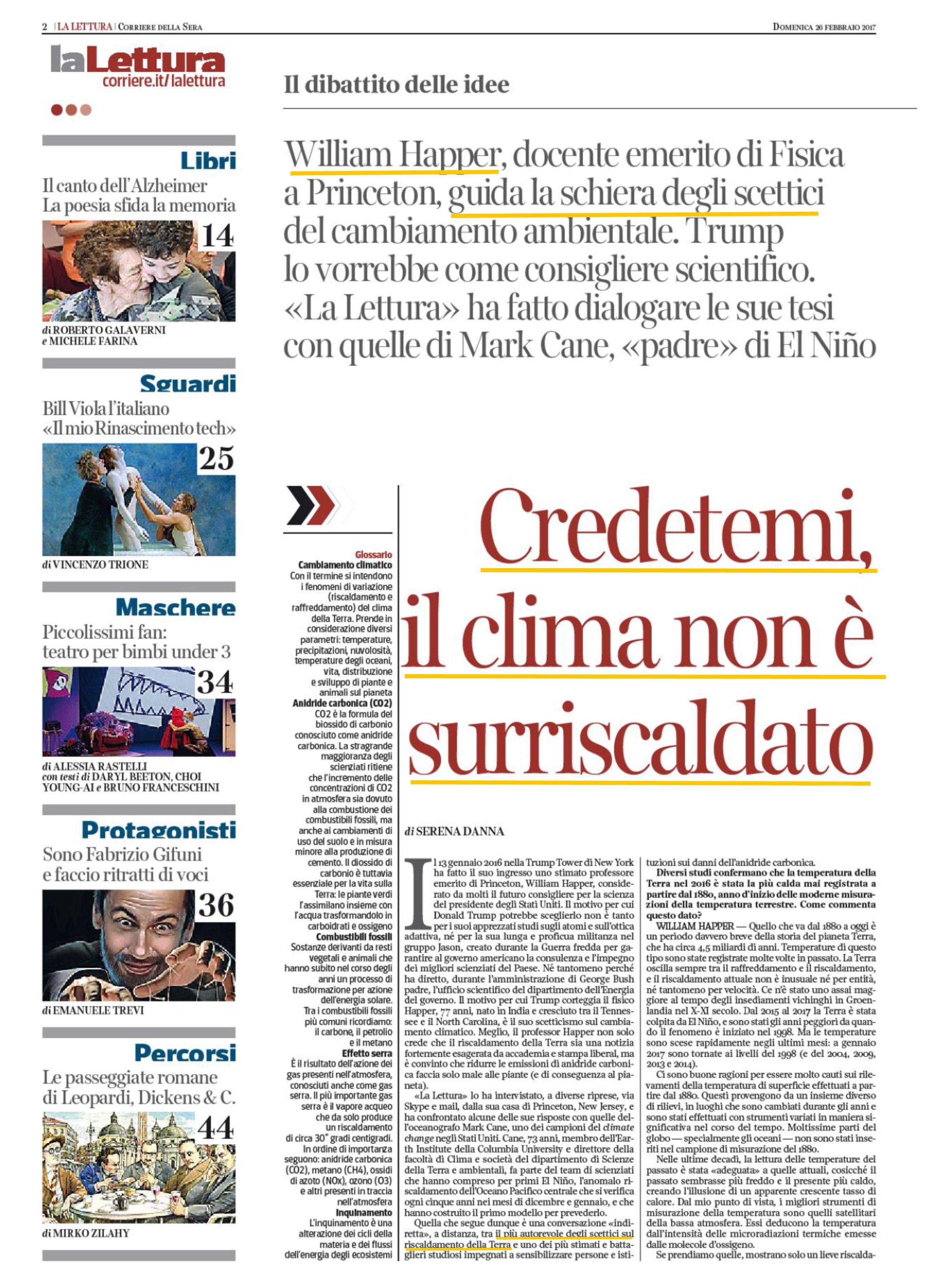 Pagina 2 de La Lettura numero 274, inserto culturale del Corriere della Sera in edicola il 26 febbraio 2017.