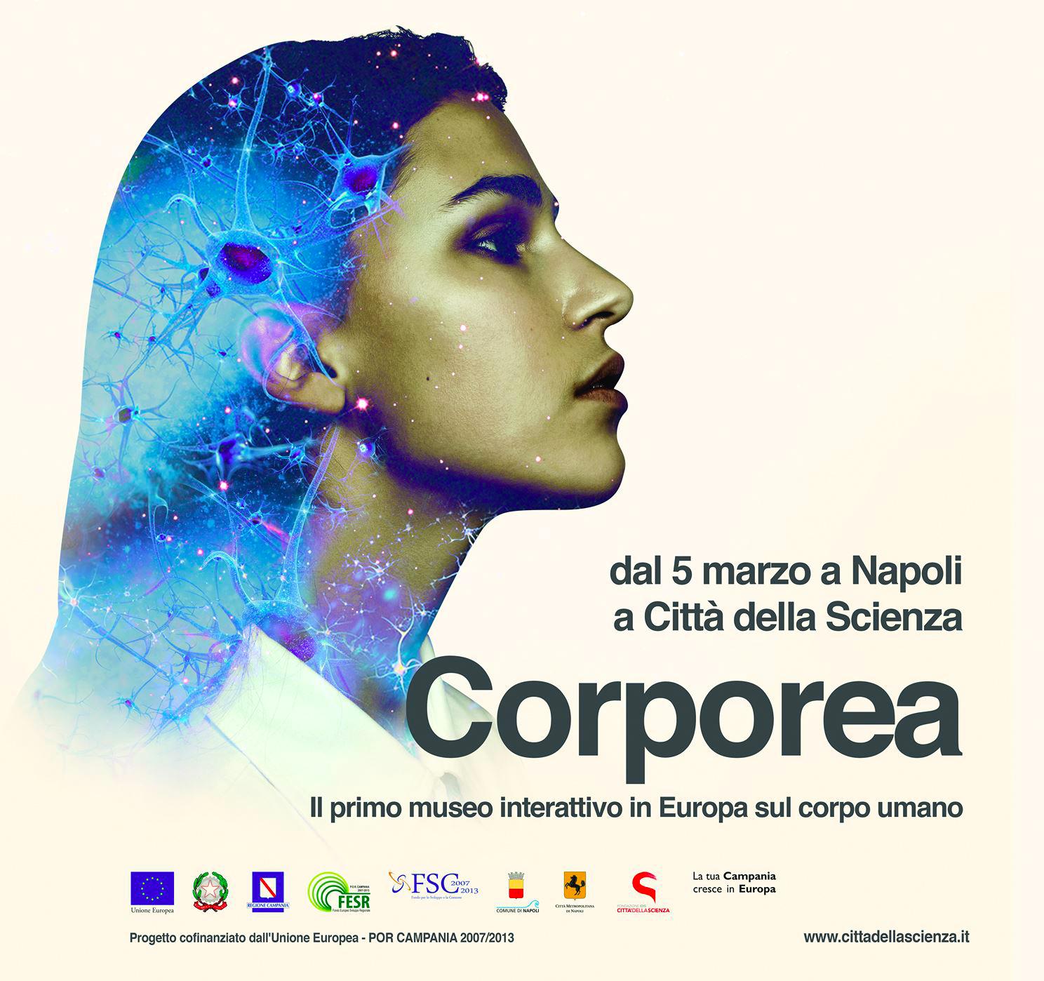 La locandina di Corporea, la mostra interattiva sul corpo umano inaugurata alla Città della Scienza di Napoli. Credit: Città della Scienza.