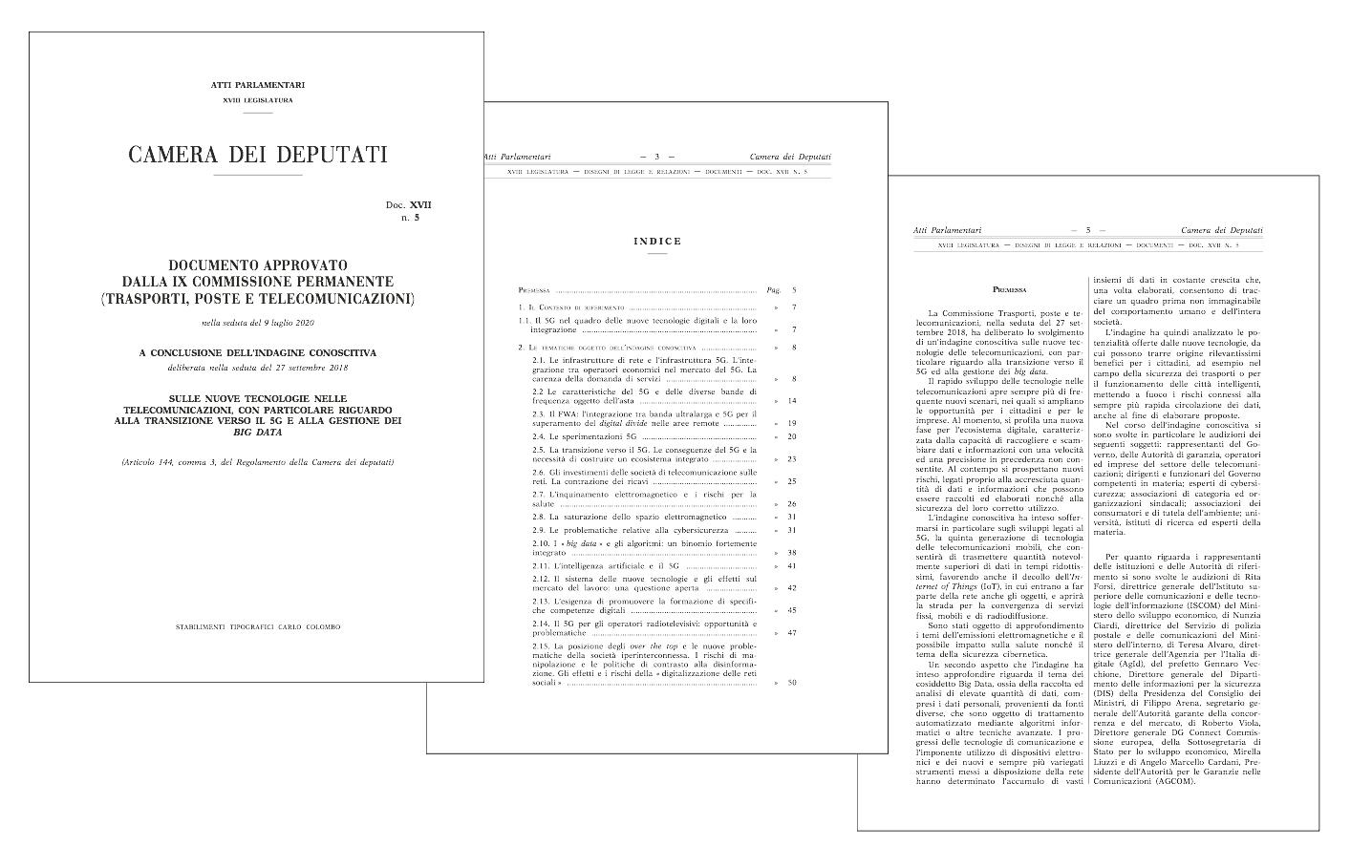 alcune pagine del documento conclusivo dell'indagine della Camera sul 5G