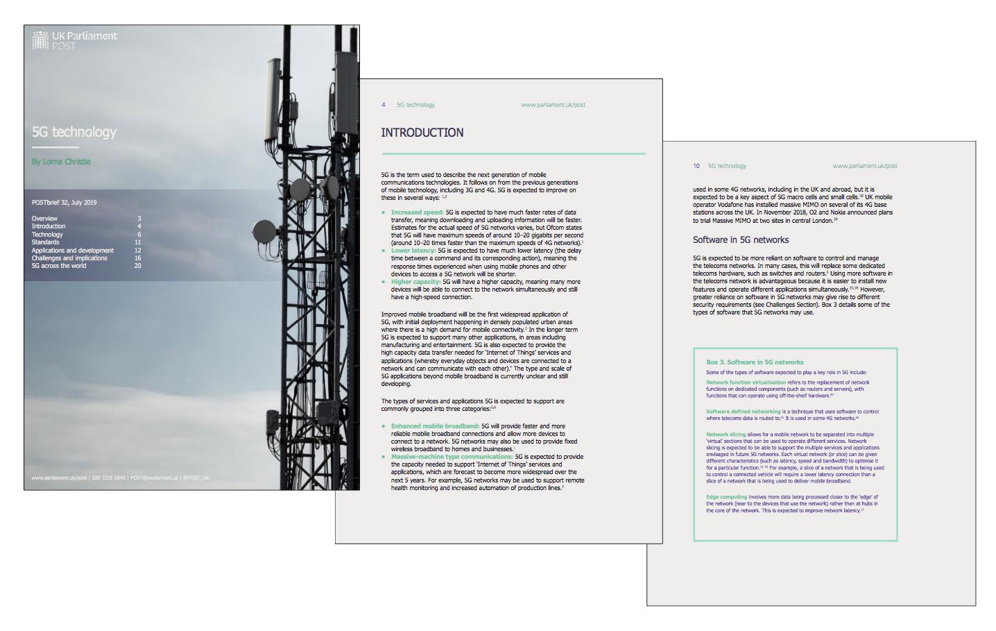 alcune pagine del research briefing sul 5G redatto dal POST